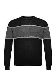 Merino Stripe Sweater in Responsible Wool - BLACK