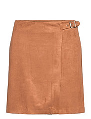 Vegan Suede Wrap Mini Skirt - CAMEL