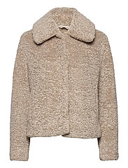 Sherpa Short Coat - COOL TAUPE