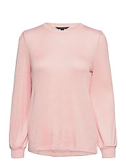Cozy Ribbed Puff Sleeve Top - BLUSH