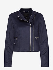 Banana Republic - Vegan Suede Biker Jacket - leather jackets - navy - 0