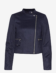 Banana Republic - Vegan Suede Biker Jacket - leather jackets - navy - 2