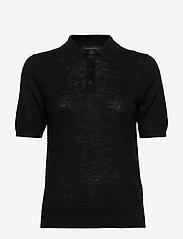 Banana Republic - Linen-Blend Sweater Polo - strikkede toppe - black - 0