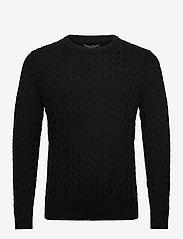 Banana Republic - SUPIMA® Cable-Knit Sweater - basic knitwear - black - 0