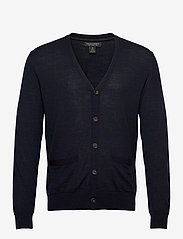 Banana Republic - Merino Cardigan Sweater in Responsible Wool - basic knitwear - navy heather - 0