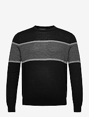 Banana Republic - Merino Stripe Sweater in Responsible Wool - knitted round necks - black - 0