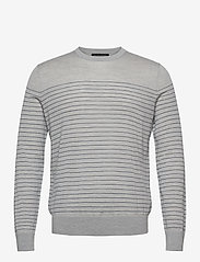 Banana Republic - Merino Stripe Sweater in Responsible Wool - knitted round necks - light grey - 0