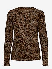 Banana Republic - Slub Cotton-Modal Long-Sleeve T-Shirt - long-sleeved tops - black/leopard - 0