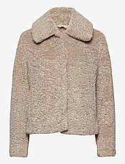 Banana Republic - Sherpa Short Coat - faux fur - cool taupe - 0