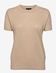 Linen-Blend Short-Sleeve Sweater - COOL BEIGE