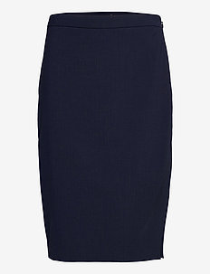 Washable Italian Wool-Blend Pencil Skirt with Side Slit - midi skirts - navy
