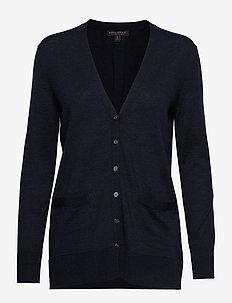 Washable Merino Boyfriend Cardigan Sweater - BASIC NAVY