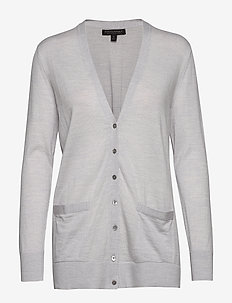 MERINO BF CARDIGAN - LIGHT GREY