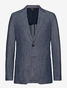Slim Chambray Blazer - single breasted blazers - west palm blue