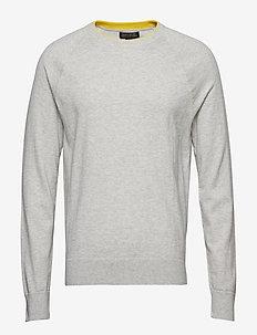 Cotton Cashmere Raglan Sweater - PALE HEATHERED GREY