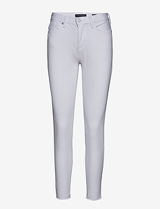 Mid-Rise Skinny Ankle Jean with Raw Hem - skinny jeans - white denim