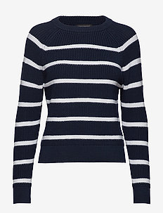 Chunky Ribbed Stripe Sweater - NAVY WITH WHITE STRIPE