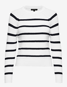 Chunky Ribbed Stripe Sweater - WHITE WITH NAVY STRIPE