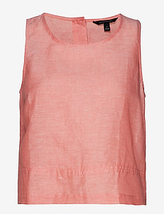 Linen-Cotton Button-Back Tank - CORAL