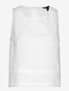 Linen-Cotton Button-Back Tank - WHITE