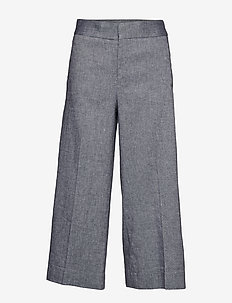 High-Rise Wide-Leg Linen-Cotton Cropped Pant - PREPPY NAVY