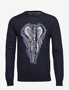 Elephant Graphic Sweater - PREPPY NAVY