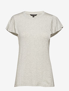 SS SOFT STRETCH FLOUNCE SLV TEE - LIGHT GREY