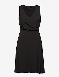 Soft Ponte Twist-Front Dress - BLACK K-100