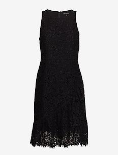 Lace Ruffle Wrap Racerback Dress - BLACK K-100