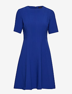 Paneled Fit-and-Flare Dress - BLUE ROYAL