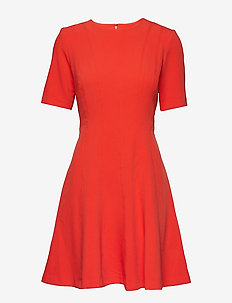 Paneled Fit-and-Flare Dress - GEO RED