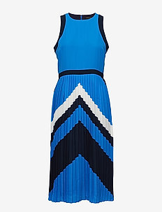 Chevron Pleated Midi Dress - BLUE ROYAL