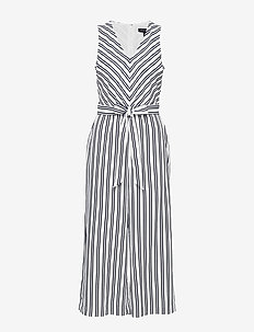 Wide-Leg Cropped Jumpsuit - combinaisons - white with black strip