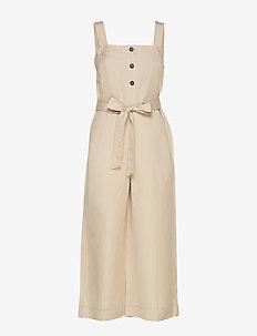 Linen-Blend Cropped Jumpsuit - combinaisons - golden beige