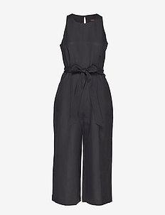 Linen-Blend Cropped Jumpsuit - combinaisons - black k-100