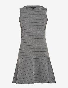 Stripe Drop-Waist Knit Dress - GREY WITH WHITE STRIPE