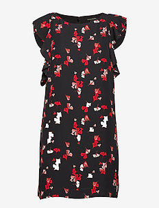 Floral Flutter-Sleeve Shift Dress - BLACK K-100