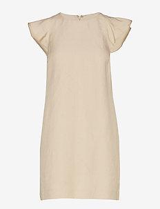 Linen-Blend Flutter-Sleeve Dress - GOLDEN BEIGE