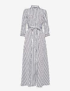 Stripe Maxi Shirt Dress - BLACK WHITE NOVELTY