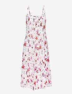 Floral Pin-Tuck Midi Dress - WHITE