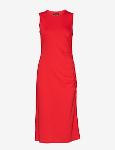 Ruched Midi Dress - HOT RED
