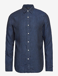 Slim-Fit Linen Shirt - NAVY