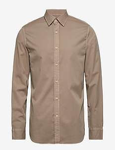 Slim-Fit Cotton Twill Shirt - LT KHAKI F99