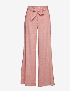 High-Rise Wide-Leg Linen-Cotton Pant - CORAL GLORY