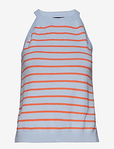 STRIPE CUTAWAY TANK - LIGHT BLUE