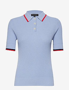 Ribbed Sweater Polo - LIGHT BLUE