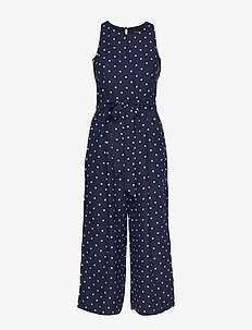 Cropped Wide-Leg Jumpsuit - BR DOT NAVY