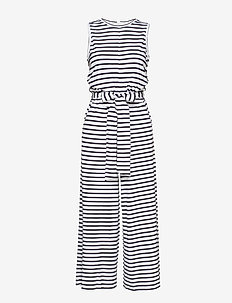 Soft Ponte Cropped Wide-Leg Jumpsuit - NAVY WITH WHITE STRIPE