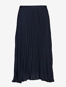 Pleated Midi Skirt - jupes midi - navy