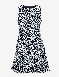 Leopard Flounce-Hem Dress - PREPPY NAVY